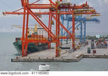 Rijeka, Croatia - October 17, 2014: Loading Cargo Containers Ship Gantry Cranes At Adriatic Gate Por