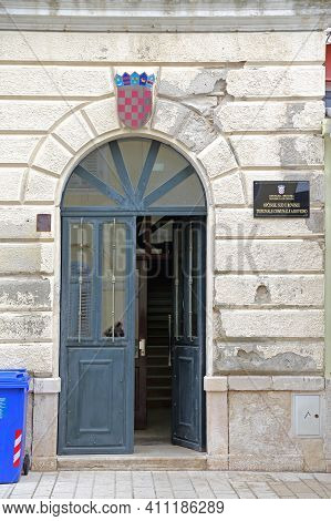 Rovinj, Croatia - October 15, 2014: Entrance To District Justice Magistrates Courts Government Build