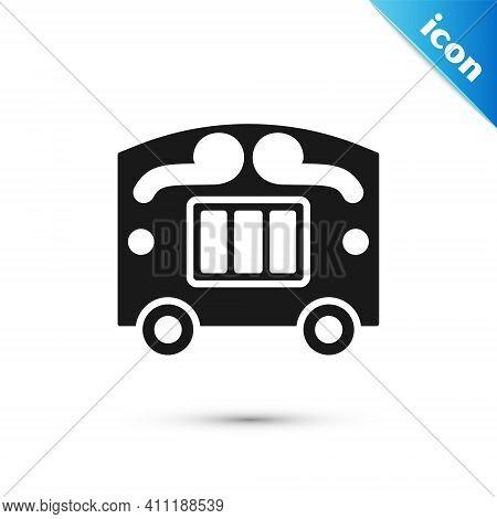 Grey Circus Wagon Icon Isolated On White Background. Circus Trailer, Wagon Wheel. Vector