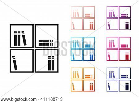 Black Shelf With Books Icon Isolated On White Background. Shelves Sign. Set Icons Colorful. Vector