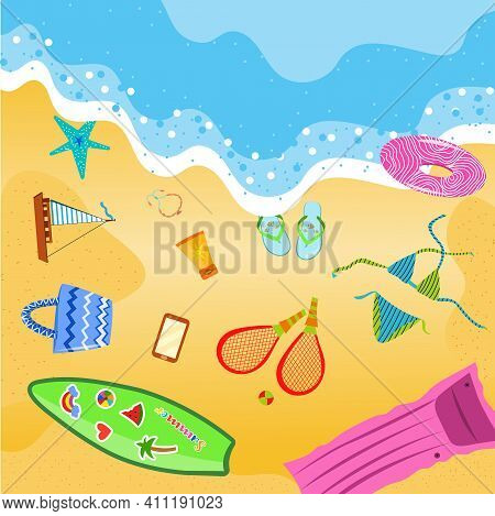 Summer Beach Items. Summer Accessories On The Sand. Waves Of Sea. Top View. Beach Time. Swimming Acc