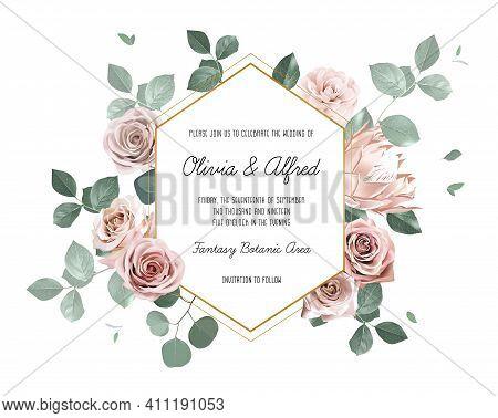 Eucalyptus And Pale Roses, Protea, Camellia Vector Design Invitation Frame. Rustic Wedding Greenery.