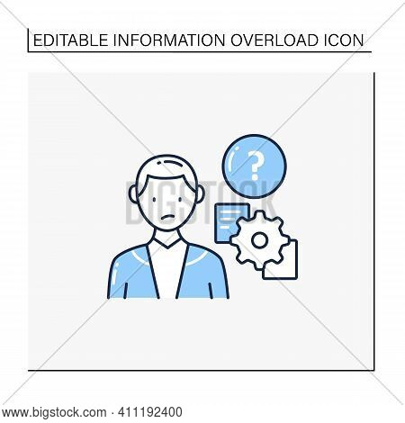 Unprocessing Information Line Icon. Method Lack For Processing Different Information Kinds. Inabilit