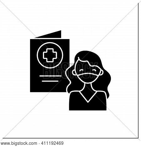 Covid Passport Glyph Icon. Girl In Mask Has Got Necessary Document. Note About Health Status. Vaccin