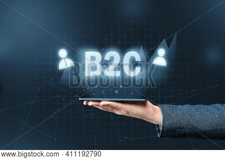B2c Concept. Business To Consumer Graphic Inscription Over The Smartphone.