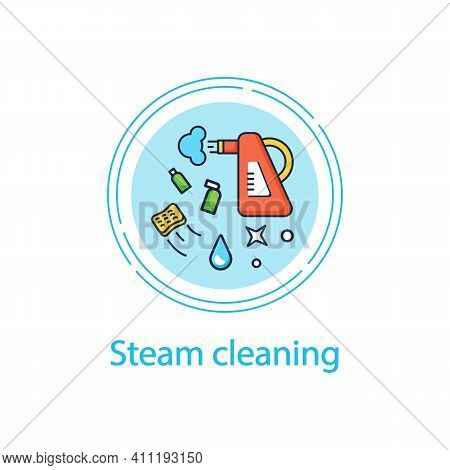 Steam Cleaning Concept Line Icon. Cleaning Method. Steaming Process. Cleanup Flooring And Household