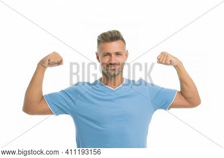 Strong Biceps. Athletic Body. Man Athlete Isolated White Background. Man Handsome In Shirt. Guy Spor