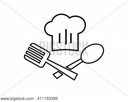 Chef Emblem With Toque And Spoon Isolated On A White Background. Vector Stock  Illustration For Card