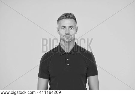 There Is Style For Every Man. Handsome Man Yellow Background. Barber Shop. Barbershop. Casual Fashio
