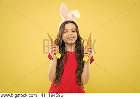 Easter Holidays Are Coming Up. Healthy Food. Child Bunny Ears. Diet For Health. Benefit Of Eating Ca