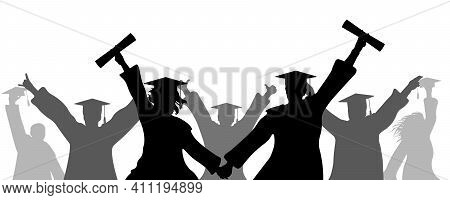 Cheerful Graduates In Academic Square Caps With Diploma, Silhouette. Termination Of Study At Univers