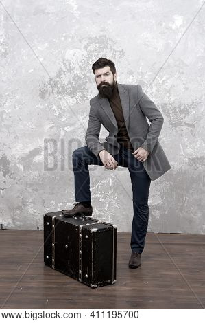 Travel And Relocation. Man Well Groomed Bearded Hipster Big Suitcase. Travel And Baggage Concept. Hi