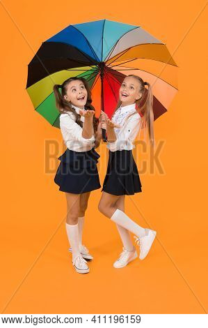 Colorful Life. Schoolgirls Happy Big Umbrella. Fall Weather Forecast. Place For Both Of Us. Fashion