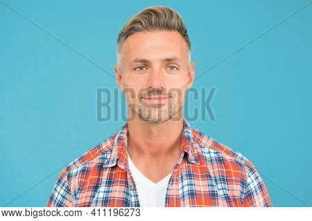This Is What Man Wants To Look Like. Caucasian Man On Blue Background. Handsome Man In Casual Fashio