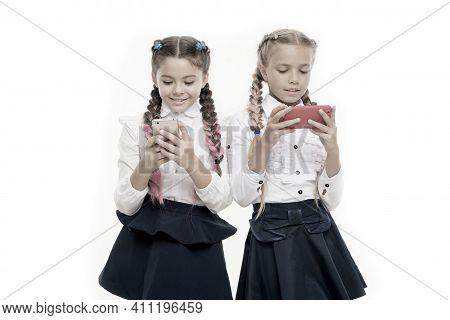 Modern Life. Mobile Addiction. Worldwide Net. Internet Resource Has Hazards For Kids. Girls School U