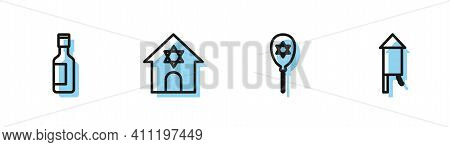 Set Line Balloon With Star Of David, Jewish Wine Bottle, Synagogue And Firework Rocket Icon. Vector