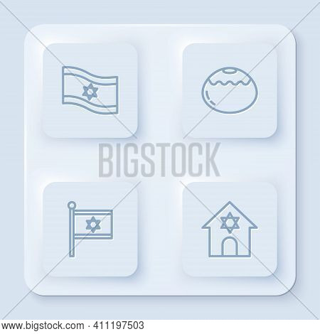 Set Line Flag Of Israel, Jewish Sweet Bakery, And Synagogue. White Square Button. Vector