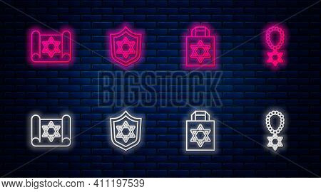 Set Line Shield With Star Of David, Shopping Bag Star David, Torah Scroll And Necklace On Chain. Glo