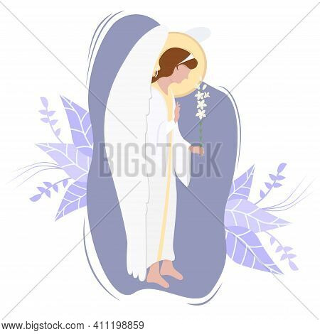 Archangel Gabriel With A White Lily - Heavenly Messenger On A Background. Vector. Religion - Catholi