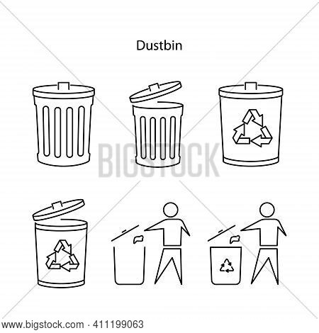 Dustbin Icon Set Isolated On White Background. Dustbin Icon Set Trendy And Modern Dustbin Symbol For