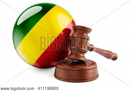 Congo Law And Justice Concept. Wooden Gavel With Flag Of Congo. 3d Rendering Isolated On White Backg
