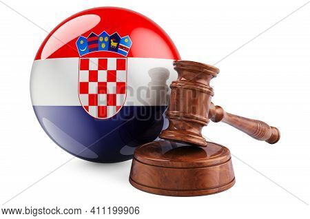 Croatian Law And Justice Concept. Wooden Gavel With Flag Of Croatia. 3d Rendering Isolated On White