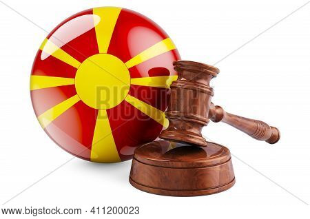 Macedonian Law And Justice Concept. Wooden Gavel With Flag Of Macedonia. 3d Rendering Isolated On Wh