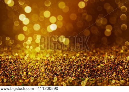 Shiny Background. Beautiful Glowing Bokeh. Bright Glowing Background. Shiny Glowing Effect. Gold Spa