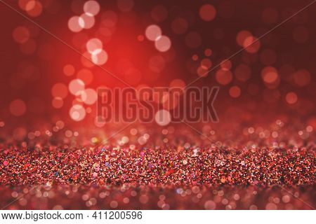Shiny Background. Beautiful Glowing Bokeh. Bright Glowing Background. Shiny Glowing Effect. Red Spar