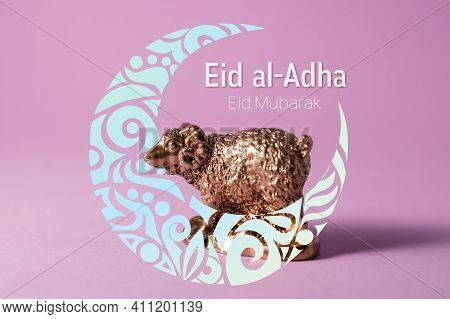 Golden Lamb Figure Decorated With Hand-drawn Ornamental Crescent Moon Against A Purple Background. S