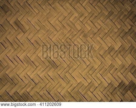 Straw Weaving, Similar To Parquet. Dark Yellow, Ocher Hue. Dirty Straw. Natural Texture.