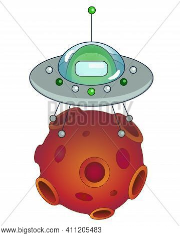 Flying Saucer With An Alien Landed On An Asteroid - Vector Full Color Illustration. The Green Alien