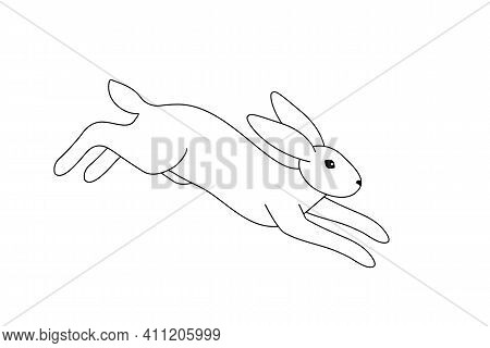 Vector Illustration Of A Jumping Rabbit Going For A Landing. Black Outline Of A Hare On A White Back