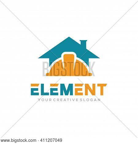 Element Logo Vector, Construct Logo Vector Template. Helmet Construction And Home Design Concept For