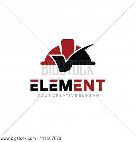 Element Logo Vector, Construct Logo Vector Template. Helmet Construction And Check Design Concept Fo