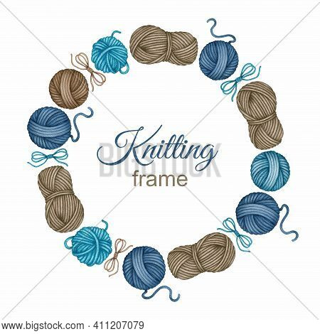 Watercolor Knitting And Crocheting Yarn Frame. Round Skeins, Balls Of Wool In Different Colors. Hand