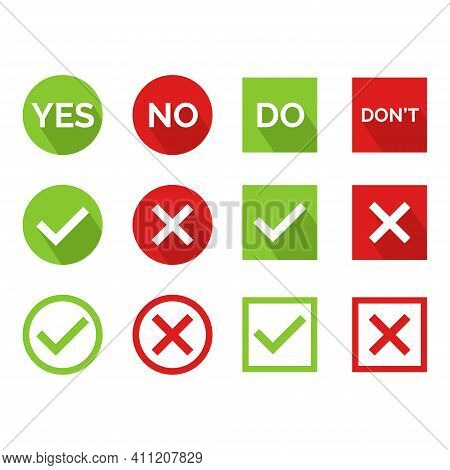 Flat Vector Illustration Of A Yes Or No Icon. Perfect For Design Element From Tips And Tricks Articl