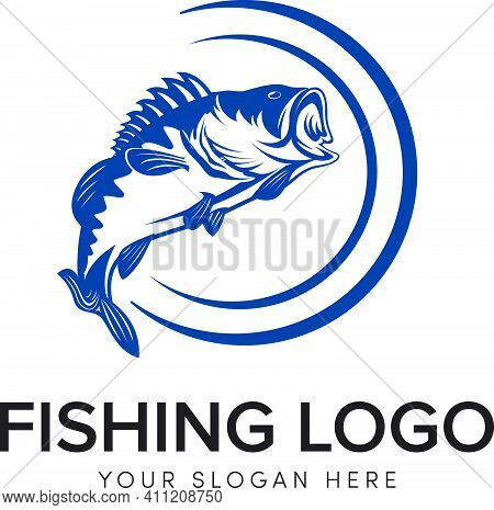 Bass Fishing Logo Modern Logo Big Bass Icon And Circle