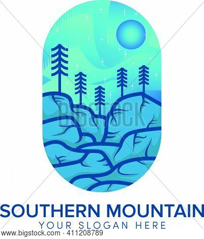 Southern Hill Full Color Logo Design With Sun Blue Landscape