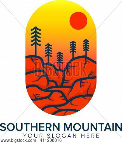 Southern Mountain And Hill Logo Design With Sun Orange