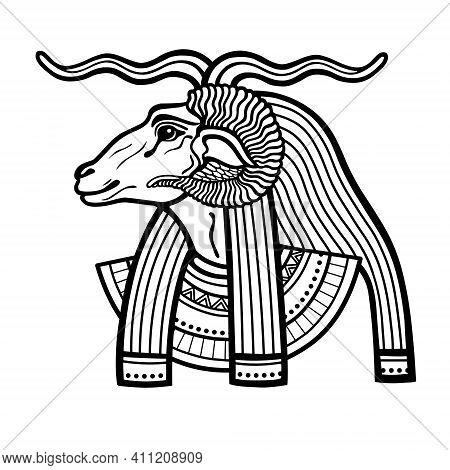 Animation Portrait Ancient Egyptian God Khnum. Deity Of Nile Source, God With Ram. Profile View. Vec