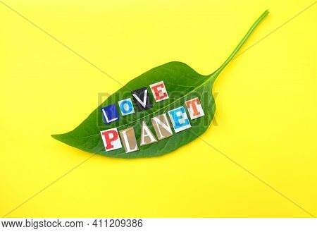 Love Planet Headline. Words From Paper Letters On Nature Green Leaf On Yellow Background. Headline O