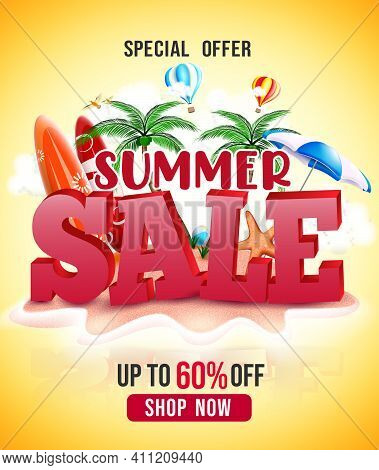 Summer Sale Vector Poster Design. Summer Sale Special Offer Text With Beach Tropical Elements In Isl