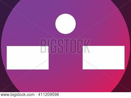 Two white rectangles and circle in middle with copy space on purple circle in background. colour concept digitally generated image.