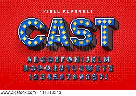 Pixel Broadway Show Alphabet Design, Stylized Like In 8-bit Games.
