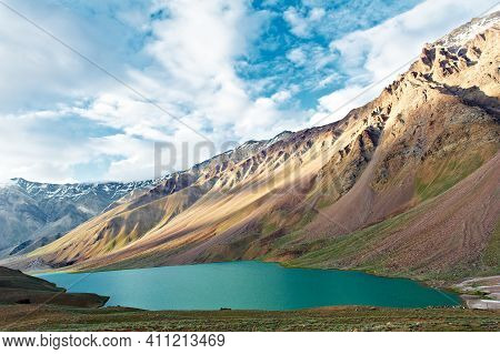 Scenic India Himalayas Mountains With Chandra Tal Lake In Spiti Valley Landscape.
