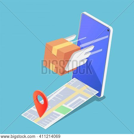 Flat 3d Isometric Parcels Box Flying Forward Rapidly From Smartphone With Pin On The Map. Fast And S