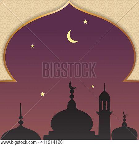 Al-isra Wal Mi'raj Means The Night Journey Of Prophet Muhammad Background Template