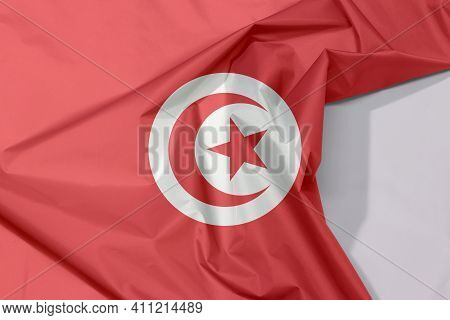 Tunisia Fabric Flag Crepe And Crease With White Space, Red And White Flag With Star And Crescent In