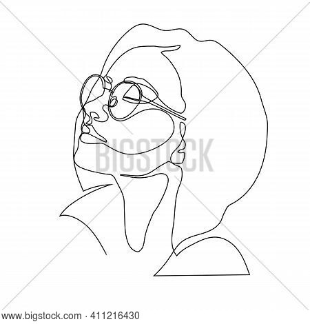 Stylish One Continuous Line Woman In Sunglasses. Fashionable Typography Girl In Minimalist Style. Be